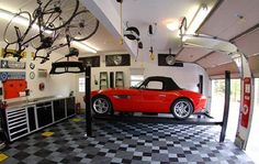 Make the garage another room in your house with Car Guy Garage. We carry garage storage, flooring, decor, cabinets and all the accessories you need to make your dream garage. Garage Loft, Garage Shop, Garage Workshop, Dream Garage, Garage Storage, Garage Organization, Tool Storage, Car Garage, Cool Garages