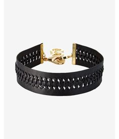 Braided Leather Choker Necklace Women's Black