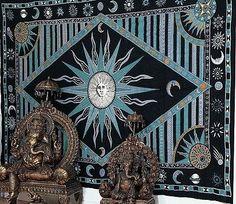 Handmade 100% Cotton Celestial Sun Moon Star Tapestry Coverlet Twin Green 70x104