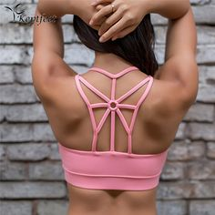 2017 Women Push Up Sports Bra Shockproof Cross Beautiful Back Wirefree Removable Padded Cups Yoga Sport Bra Athletic Vest Tops -*- AliExpress Affiliate's buyable pin. Find similar products on www.aliexpress.com by clicking the image
