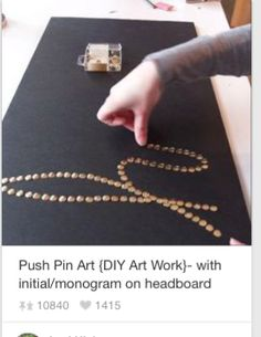 diy wall art - canvas & push pins