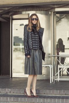 Hi everyone!  Today at London Fashion Week, my friend, photographer, Phill Taylor took this great picture. I am wearing Westward Leaning sunglasses, Boda leather jacket, Reiss skirt, Christian Louboutin heels, and a Whistles clutch.  xx, Olivia