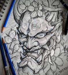 Mask sketch tattoo sketches toronto tattoo artist tattoo shop toronto a Oni Tattoo, Irezumi Tattoos, Tatuajes Irezumi, Hannya Maske Tattoo, Japanese Mask Tattoo, Japanese Tattoo Designs, Japanese Sleeve Tattoos, Japanese Oni Mask, Tattoo Japanese Style