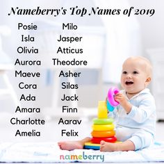 Nameberry's Top 1000 baby names for 2019 include two new names at the top of the list. Posie is the most popular girl name and Milo is the top boy name. Popular Girl Names, Most Popular Names, Top Girls Names, Kid Names, Baby Names And Meanings, Names With Meaning, Uncommon Baby Names, Vintage Names, Classic Names