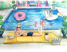 Esta es una ilustración de moda inspirada en la fiesta de piscina de verano. Esta pieza es grande como un regalo de cumpleaños vacaciones de moda miembros de la familia o amigos. Cuelgo esto para añadir más alegría para tu vida diaria. Impresión arte es impreso en papel