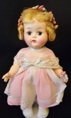 Vintage-1950s-Hard-Plastic-10-Walker-Original-Dress-MINTY-Block-Doll-CO