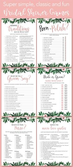 Super easy, fun and funny bridal shower games to play at your next wedding shower or bachelorette party!