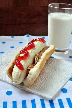 peanut butter, jelly and a banana on hot dog bun!