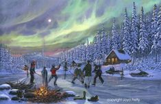 Beautiful Newfoundland artwork captured by artist LLoyd Pretty Christmas Scenes, Christmas Art, Sports Painting, Winter Painting, Newfoundland And Labrador, Under The Lights, Vintage Winter, Cool Artwork, Amazing Artwork