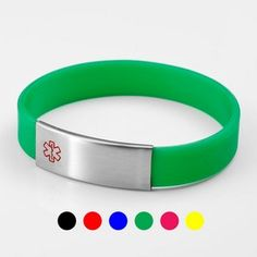 Medical Bracelet Stainless Engravable Color Silicone Tag