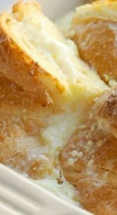 Baked Croissant French Toast with Lemon Cream Cheese Baked Croissant French Toast with Lemon Cream Cheese ~ Super delicious and super easy to make the night before then just pop it in the oven for a scrumptious breakfast Breakfast Desayunos, Breakfast Dishes, Breakfast Recipes, Breakfast Croissant, Mexican Breakfast, Breakfast Sandwiches, Breakfast Ideas, Croissant French Toast, Baked French Toast