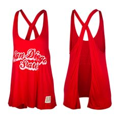 Open Back Script Tank Women's lightweight tank with open back featuring a distressed San Diego State screen print across the chest. $29