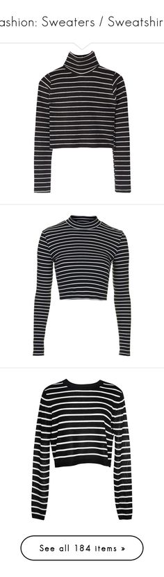 """Fashion: Sweaters / Sweatshirts"" by katiasitems on Polyvore featuring tops, shirts, sweaters, crop top, long sleeve shirts, sexy shirts, sexy crop top, sexy long sleeve tops, striped crop top and crop tops"