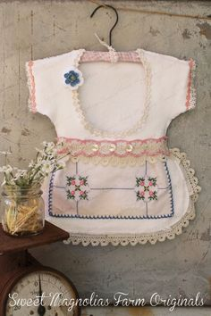 """Clothespin Bag Vintage Style Dress Made with Vintage Doilies and Crochet Lace Trims Pink and Blue """" a One of a Kind"""" by SweetMagnoliasFarm, $38.50"""