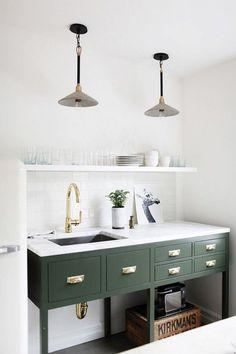 green kitchenette