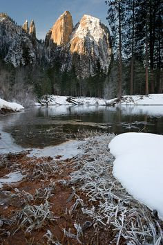 Cathedral Rock From Merced River At Sunrise, Yosemite National Park, California