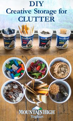 Keep your home clutter free by using your yoghurt tub as a storage solution or lunch container. Great for storing paint brushes, loose change, legos or even cookies for a snack on the go!
