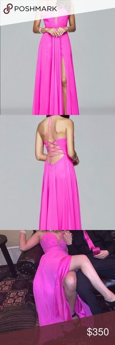 hot pink faviana 7747 hot pink with strappy back. only wore once. brand new. Faviana Dresses Prom