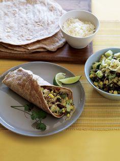 California Ensalada Burritos (Vegetarian times) with chunky guacamole