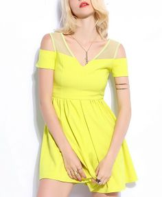 Sexy Style Net Splice Off-the-shoulder Yellow Dress