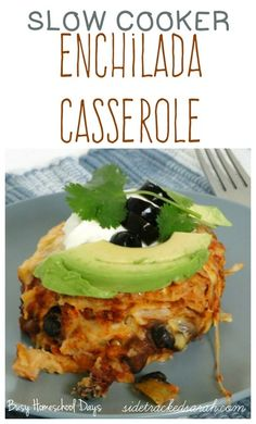 Enchilada Casserole Recipe in the Crockpot (could freeze part of it ahead, uses cooked chicken)(Apr Crockpot Chicken Enchilada Casserole, Slow Cooker Enchiladas, Casserole Recipes, Slow Cooker Recipes, Crockpot Recipes, Cooking Recipes, Healthy Recipes, Easy Bbq Sauce, Sauce Recipes