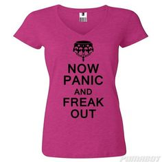 Women's L Wow Pink Now Panic and Freak Out cotton v-neck shirt by PumaBot