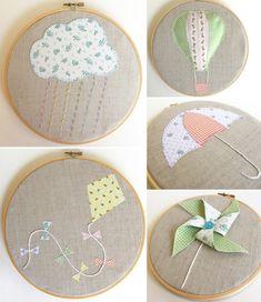 Free Embroidery Hoop Art Patterns - Cutesy Crafts Embroidery Hoop Crafts, Embroidery Patterns Free, Embroidery Art, Cross Stitch Embroidery, Embroidery Designs, Fabric Crafts, Sewing Crafts, Sewing Projects, Fabric Art