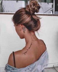 42 Tattoo Quotes that will make you irresistible! Girly Tattoos, Cute Girl Tattoos, Dainty Tattoos, Dope Tattoos, Small Girl Tattoos, Pretty Tattoos, Body Art Tattoos, Small Neck Tattoos, Tatoos