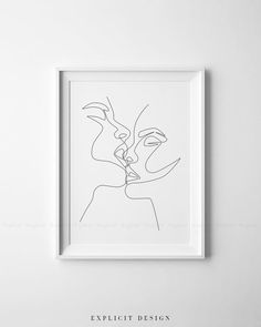 One Line Drawing Set of 4 Printable Minimalist Kiss Woman | Etsy