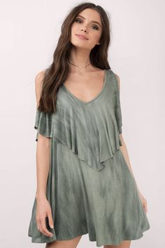 "Search ""Marie Tie Dye Day Dress"" tiered ruffle swing shift cold shoulder"