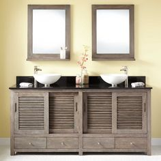 Give your bathroom a major makeover with the Arrey Teak Vessel Sink Double Vanity. Store your items beneath the sinks or in any of the Arrey's four drawers. The Gray Wash finish complements your fixtu Vessel Sink Vanity, Double Sink Vanity, Vanity Cabinet, Double Sinks, Bathroom Spa, Bathroom Renos, Bathroom Renovations, Bathroom Ideas, Master Bathrooms