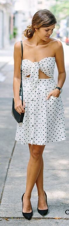 Cut Out Polka Dot Dress Summer Style