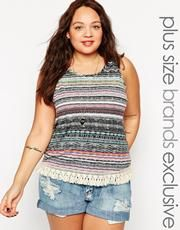 Alice & You Aztec Stripe Top With Fringing