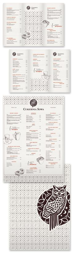 menu design owl creative black and white