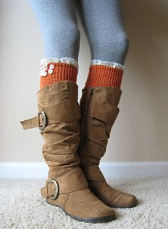 The Milly LaceTangerine Cableknit BOOT SOCKS w/ by GraceandLaceCo, $34.00