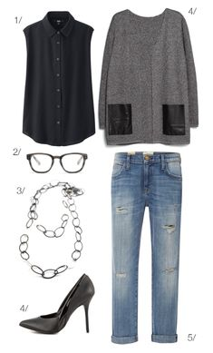 street style inspired: distressed denim, cardigan, heels, long chain necklace // click for outfit details