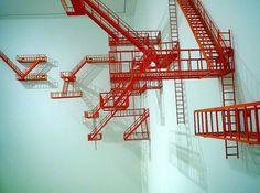 Artist Sarah Sze will represent U. in 2013 Venice Biennale Contemporary Sculpture, Contemporary Art, Instalation Art, Fire Escape, Venice Biennale, Stage Design, Set Design, Art Plastique, Public Art