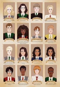 do magical kids get yearbooks??? this was such a great excuse to draw 16 portraits ~by redaart on tumblr, instagram, deviantart