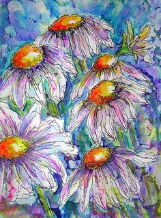 DAISIES IN MIXED MEDIA