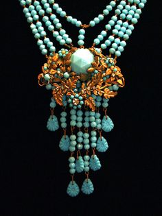 Miriam Haskell Necklace Earrings Jewelry Set Aqua by Laeclectica