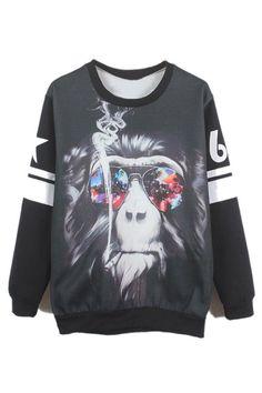Briefe & Orang-Utan Drucken schwarzes Sweatshirt