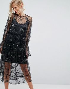 ASOS Star Embellished Smock Midi Tulle Dress - Multi