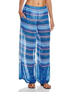 Gottex Profile Swimsuit Cover-Up Pants Blue Lagoon Printed sz M New $149 #profilebygottex #CoverUp