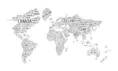 Wereldkaart Typografie met alle landnamen van Creatieve Wereld- en Landkaarten
