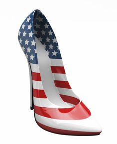 Patriotic shoes > high heels. Awesome American flag stilettos. Love these for Memorial Day or 4th of July.  I need to find me some patriotic heels... ecspecially for the olympics comin up... almost party time!