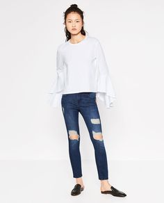 Image 1 of T-SHIRT WITH RUFFLE SLEEVES from Zara