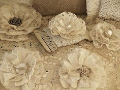 Vow Renewal: Pretty button-and-lace flowers. Wonder if I could use these somehow? Bouquet perhaps?
