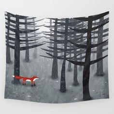 The Fox and the Forest Wall Tapestry. #painting #digital #acrylic #illustration #impressionism #black-white #animals #nature #fox #foxes #ombre #forest #wild #wildlife #woodland #landscape