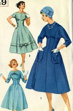 Vintage 50s Simplicity 2649 UNCUT Misses Fit and by RomasMaison
