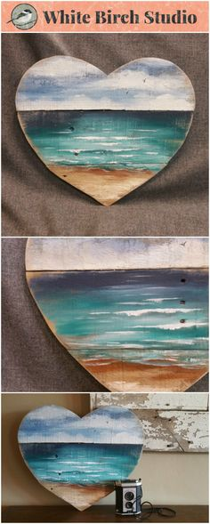 """Valentine Heart Beach Pallet wall Art, Hand painted seascape, Valentines, Gift, Cottage, upcycled, Wall art, Distressed, Shabby Chic, Love   Acrylic painting on reclaimed pallet wood. This unique piece is 17 1/2"""" wide by 16"""" tall.  A nice, summer touch to a front porch, camping trailer, or cottage."""